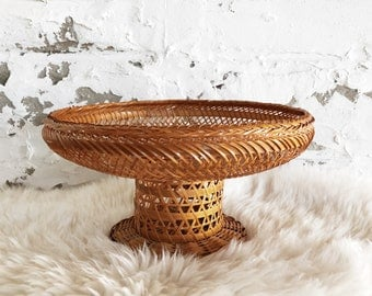 vintage woven wicker serving tray