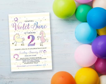 Cowgirl Birthday Party Invitations - DIGITAL FILE ONLY
