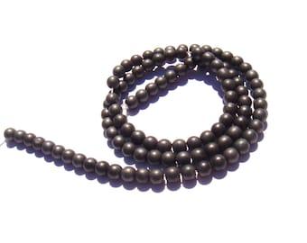 10 black and grey matte hematite beads 4 mm in diameter