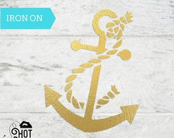 Anchor - Iron on Decal - Applique - Nautical Theme - Navy Anchor - Shirt - Tank Top - Onesie - Tote Bag - Birthday Party - Bachelorette