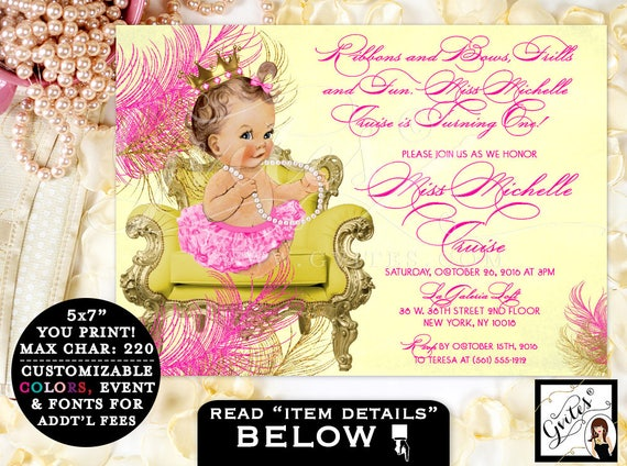 FIRST BIRTHDAY Yellow and Pink Invitation, princess, ribbons bows diamonds pearls gold pink gold PRINTABLE customizable baby invites 7x5""