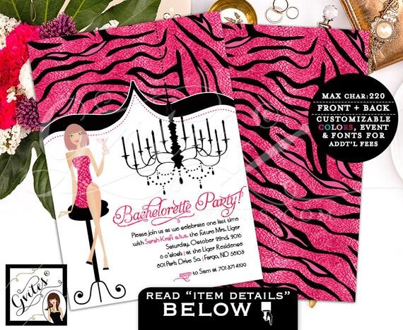 Pink Bachelorette party invitations, bachelorette invitation, glitz glam glitter African American classy invitations, fashion designer.