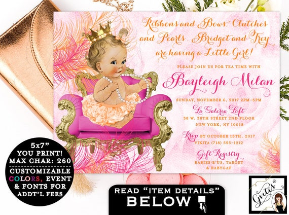 Pink and Orange Baby Shower Invitation, ribbons and bows clutches and pearls, baby princess girl, tutus, pink and gold, orange gold, 7x5