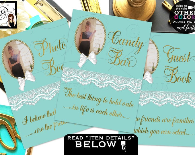 Breakfast at Tiffany's party signs, bridal shower, Audrey Hepburn thank you. Can use different Pictures/Quotes/Colors for each {4x6 or 5x7}
