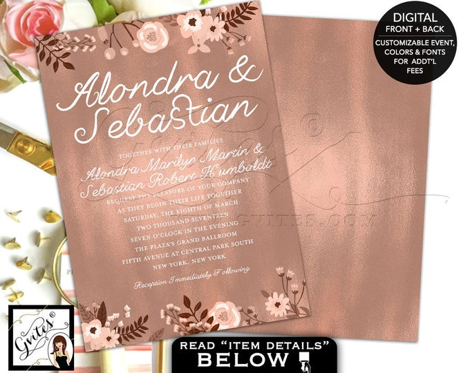 Rose Gold Wedding Invitation, Rose Gold Invite, Invitation Wedding, Foil Rose Gold Invitations, Elegant bohemian double sided, printable.