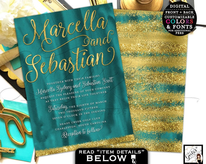 Teal and gold wedding invitation, green and gold glitter wedding invites, textured watercolor, modern elegant invitations, double sided