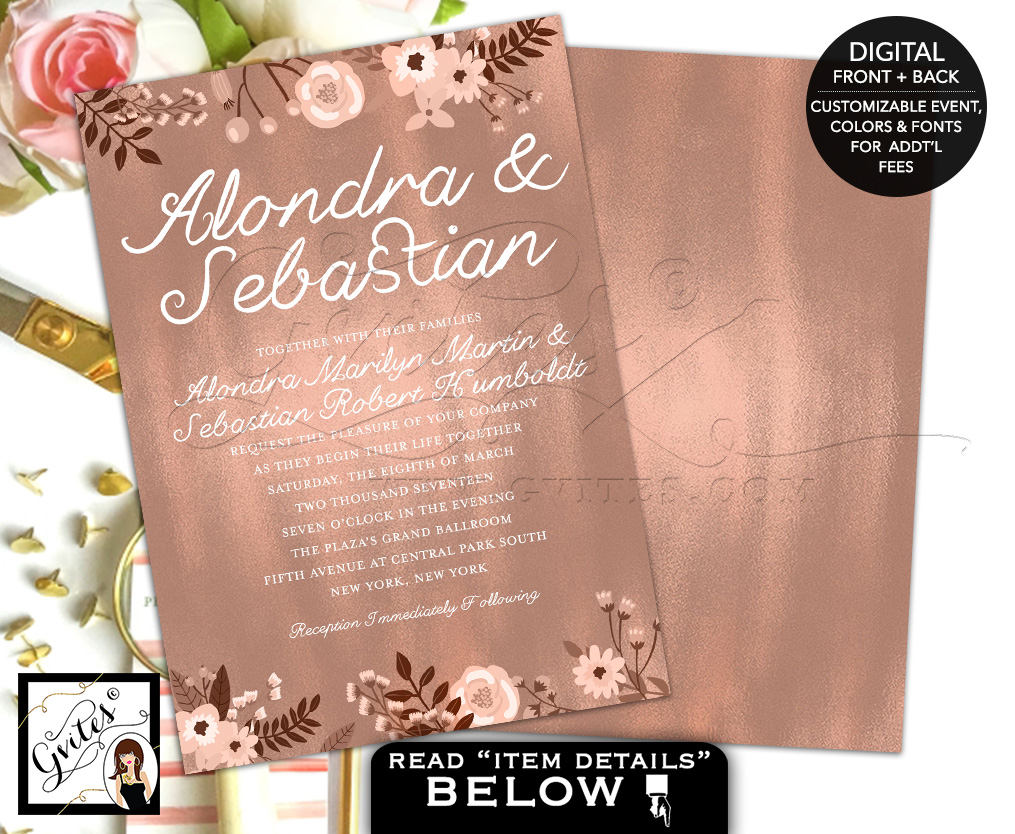 Rose Gold Wedding Invitation Rose Gold Invite Invitation Wedding