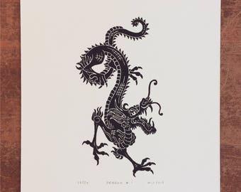 Year of the Dragon Linocut Print // Handmade // Limited Edition