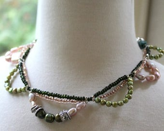 necklace, vesuvianite necklace, pearl necklace, pink necklace, bohemian necklace, green necklace, gifts for her, spring trends, green, pink