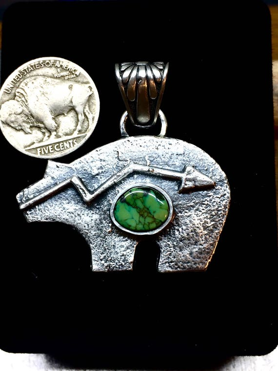 Tufa Cast Bear Pendant With Damele Sterling Silver