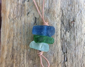 Sea- glass stack necklace on a leather thong