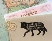 Custom Address Stamp - Wolf Return Address Stamp, Holiday Gift, Dog Address Stamp, Wedding Gift, Rubber Stamp, Save The Date, Tattoo Stamp