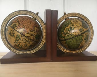 Two Mid-Century Movable Globe Armillary Sphere Book Ends - Made in Italy