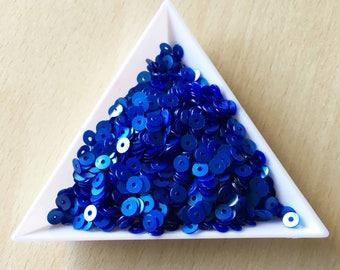 sequin satin blue 4 mm in bulk