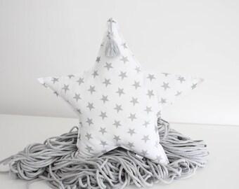Star Pillow Star Cushion Decorative Pillow Gey White Pillow