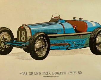 Vintage Postcard . Classic Car Bugatti Type 59