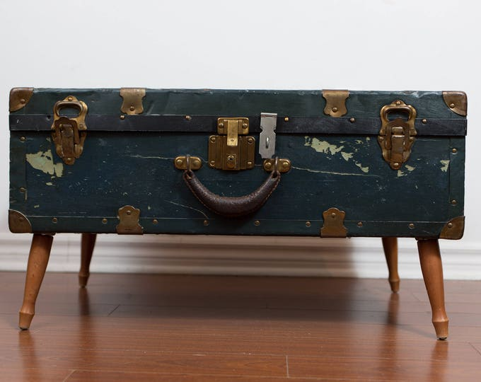 Chest Coffee Table / Rustic Trunk on Legs Unique End Table / Upcycled Repurposed Mid Century Modern Decor