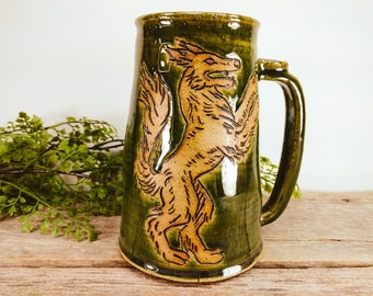 Wolf Stein 28 oz - Craft Beer Stein - Large Mugs - Big Mug - Large Mug for Coffee - Husband Gift - Boyfriend Gift - Mesiree Ceramics