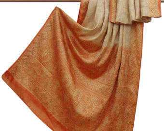 Indian Vintage Beige Upcycled Fabric 100% Pure Silk Saree Woven Craft Fabric Used Saree Decorative Fabric 5 Yd PSW5283