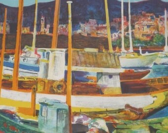 collectible art, vintage lithograph, framed lithograph, 70s limited edition, Bueno lithograph, signed numbered, expressionist boats,ohmy5605