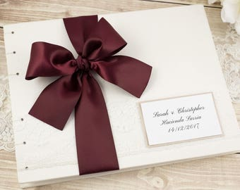 Wedding Guest Book, Ivory Guest Book, Photo Guest Book, Instant Photo, Personalized, Select Your Pages, Satin Bow, Custom Made For You