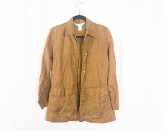 Earthy Linen Button Up Jacket w/ Front Pockets