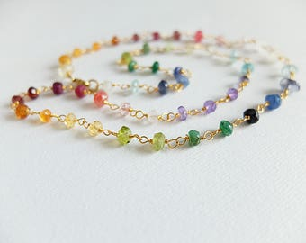 Delicate rainbow , shaded color,dainty gem necklace,peridot,rose quaryz,citrine,rosary style necklace, gold filled,handwrapped,rainbow
