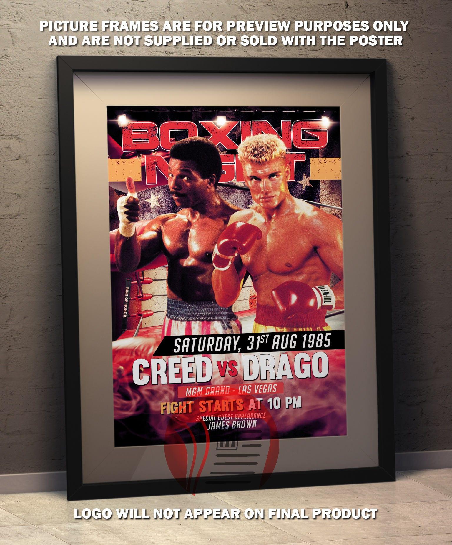 Apollo Creed vs Ivan Drago Rocky IV Faux Boxing Poster