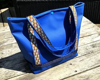 "Handbag leather ""blue"", """" peppy""trendy tote bag"