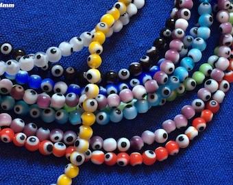 X 20 Mini mix color 4mm glass eye bead