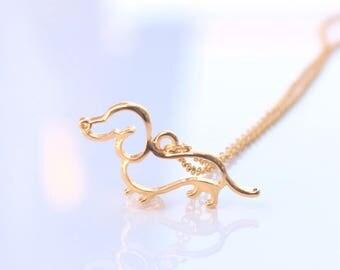 Golden Dachshund necklace