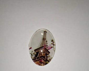 X 1 oval Cabochon glass Eiffel Tower