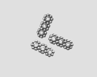 X 10 dividers bar 3 hole silver 10mm Tibetan