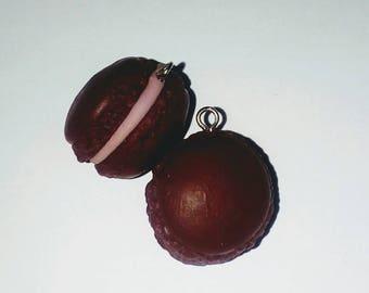 X 2 small macaroons choco/praline fimo 17mm