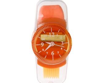 Orange watch face 1 X size Pencil + Eraser + brush kawaii