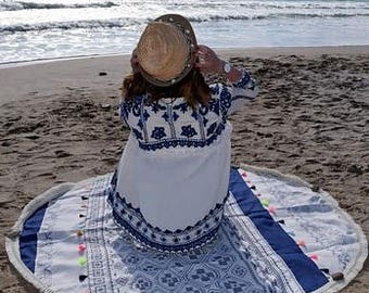 Round Navy Blue beach towel
