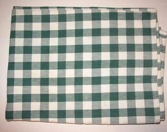 Tablecloth 100% Cotton Fabric Green Cream Gingham Check 66x48