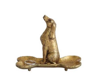 Cute Little Gold Leaf Hound Dog Sitting on Bone Jewelry Holder Stand