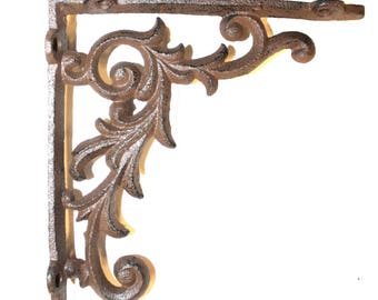 "Old Country Shelf Bracket in Cast Iron Small Leaf 6.5"" - The Kings Bay"