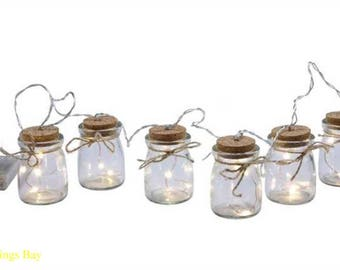 Firefly LED Light String on Small Bottles Copper Wire Battery Operated