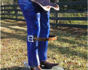 Cowboy Bar Stool W Belt Foot Rest Spurs Boots Western Jeans Furniture Chair Pair Custom Painted
