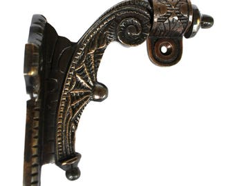 Hand Rail Bracket Aged Bronze Over Solid Brass with Web Motif Vintage Old Style