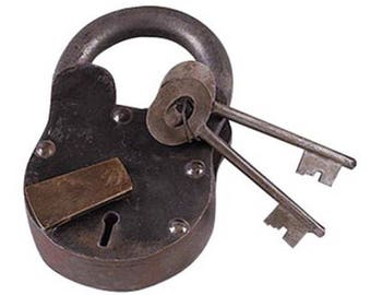 "Medium Large Treasure Chest LOCK Iron Working w Keys BIG 6"" Padlock Antique Style"