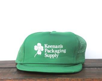 Vintage Keenan's Packaging Supply Four Leaf Clover Good Luck Trucker Hat Snapback Baseball Cap