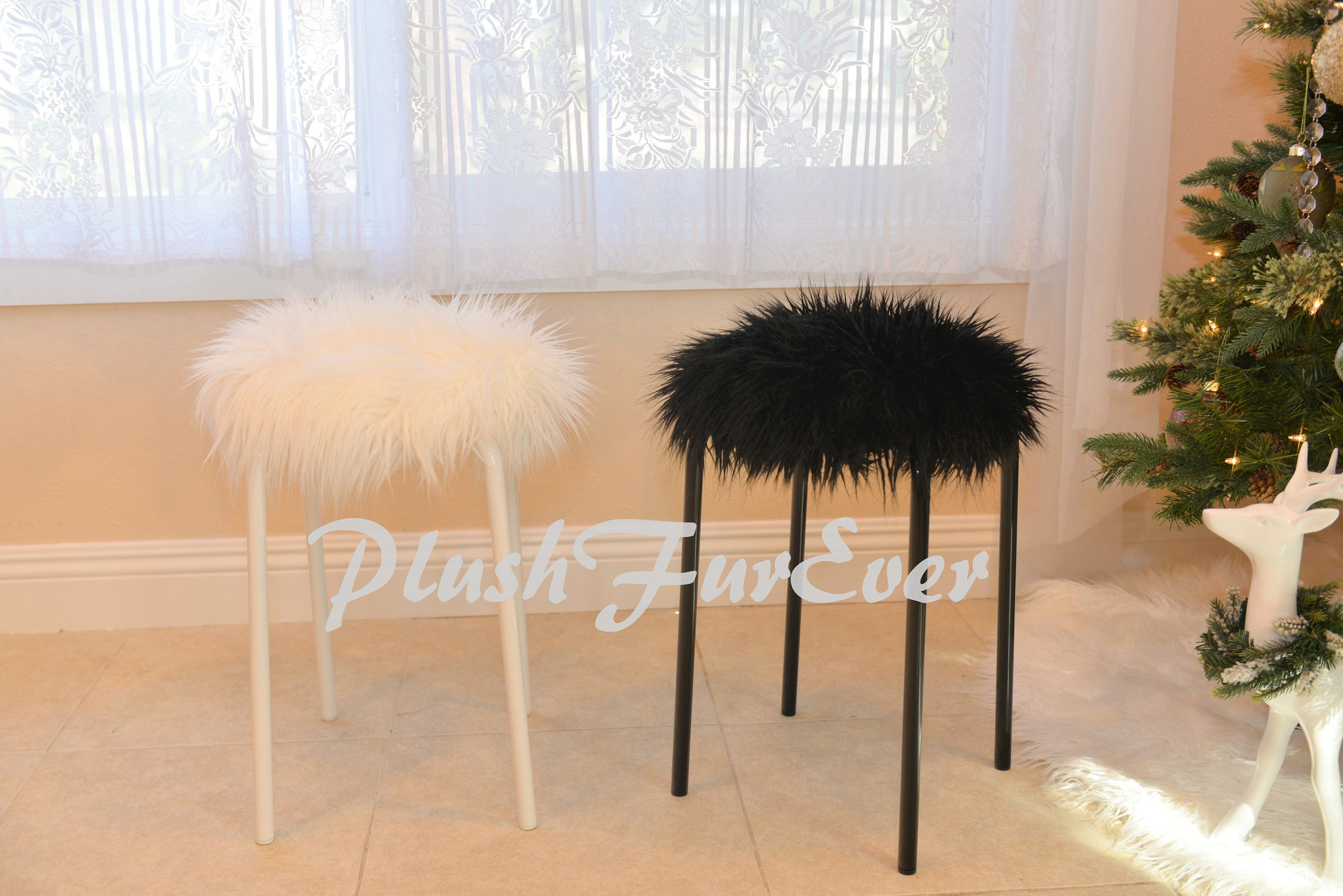 20 Off Plush Fur Stools Faux Fur Covers Included Home