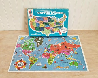 Vintage United States Puzzle World Map Puzzle Double Sided Puzzle Milton Bradley Puzzle 1975 World Puzzle Authentic Map 2 Maps in 1 Puzzle