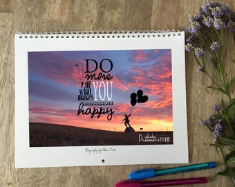 Dreamers wall calendar 2018, surreal calendar, fantasy calendar, motivational quotes calendar 2018, inspirational quotes wall calendar 2018,