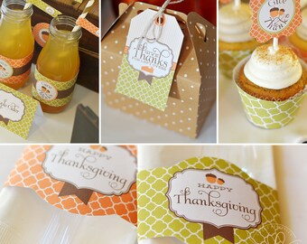 Thanksgiving Printables | Thanksgiving Party Decor | Thanksgiving Dinner Printable Decorations | Thanksgiving Leftover Tags