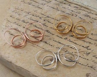 ON SALE NOW Silver Hoop Earrings - Gold Hoop Earrings - Rose Gold Hoop Earrings - Unique Earrings - Simple Earrings - Modern Earrings - Unus