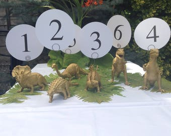 Dinosaur wedding table number holders gold dinosaur centrepiece photo holder